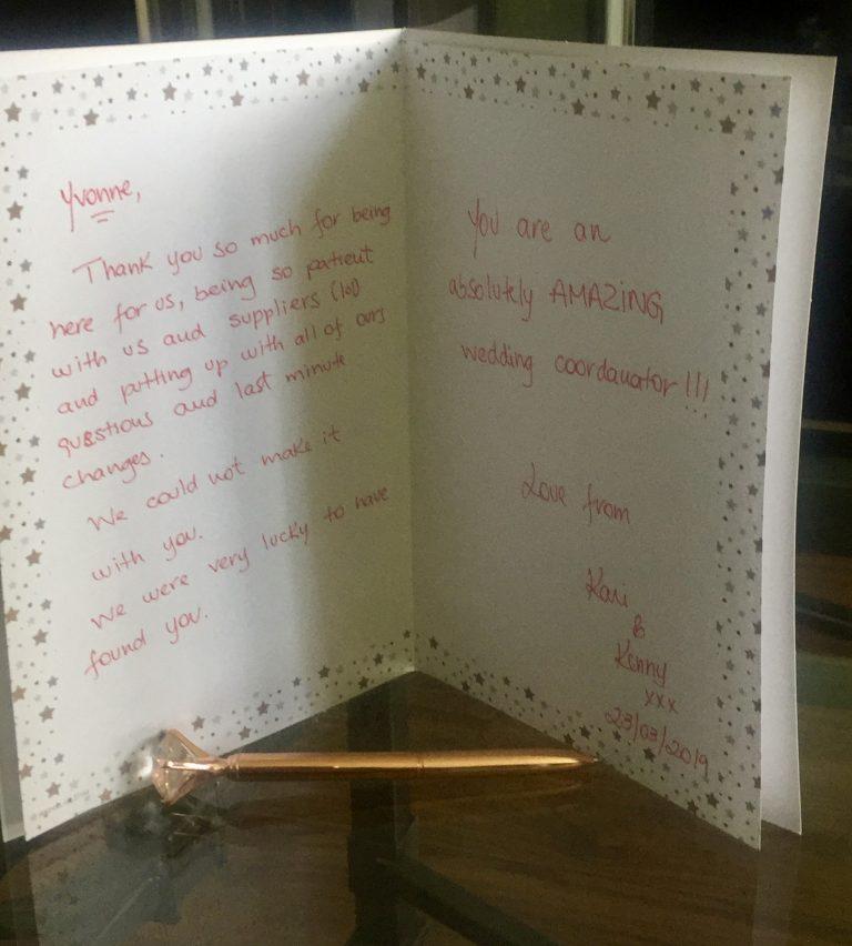 Thank you wedding coordinator, Hertfordshire Wedding Coordinator, Hertfordshire Wedding Planner,