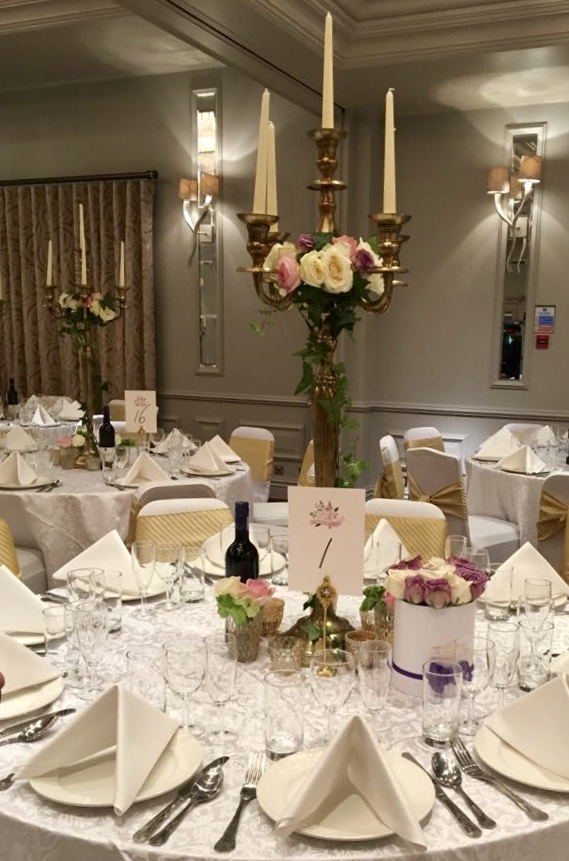 Wedding Breakfast, Pink and Cream Roses, The Flower Story London, Candelabra