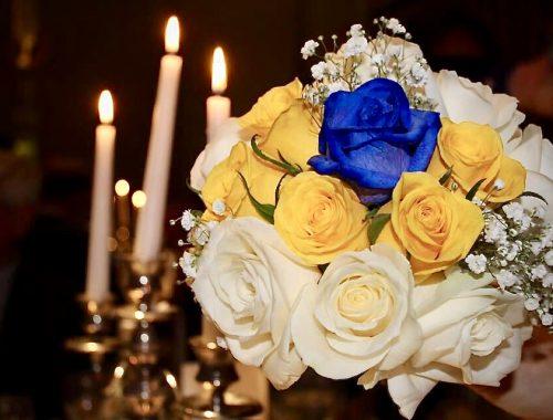 Something Blue, Cream Roses, Yellow Roses, Babies Breath