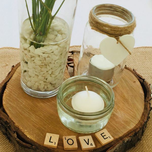 Rustic Centrepieces, Floating Candles, Mason Jars, Scrabble letters, Boston Manor Walled Garden, Wedding at Boston Manor Walled Garden, Country Centrepieces