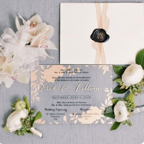Wedding invitation letter and envelope