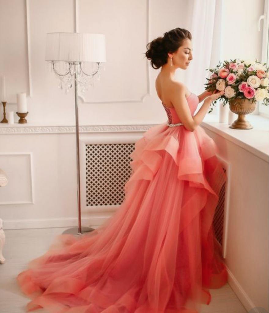 Living Coral Coloured Wedding Dress