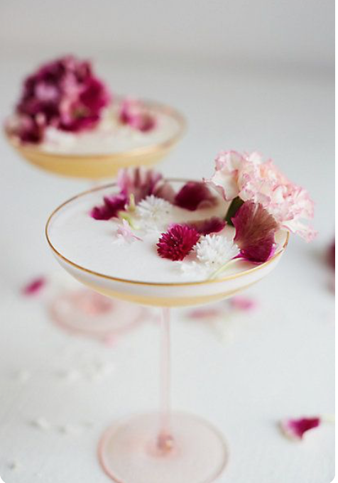 Cocktail with fresh flowers