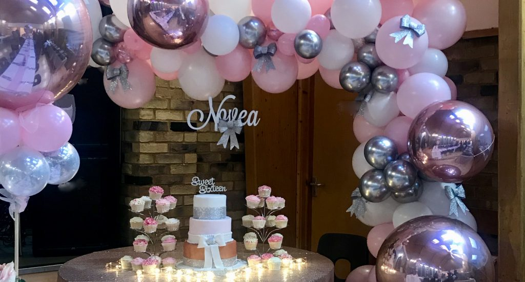 16th Birthday, Rose Gold Organic Balloon Display