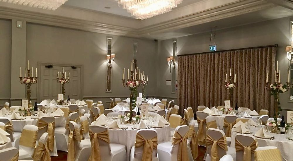 On the day Coordinator, Hertfordshire Party Planner, Herts Party Planner, Wedding Breakfast Room, Venue, Gold Sashes, Candelabra Wedding,
