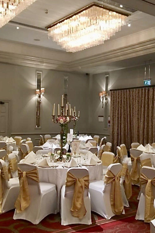 On the day Coordinator, Hertfordshire Party Planner, Herts Party Planner, Wedding Breakfast Room, Venue, Gold Sashes, Candelabra Wedding,