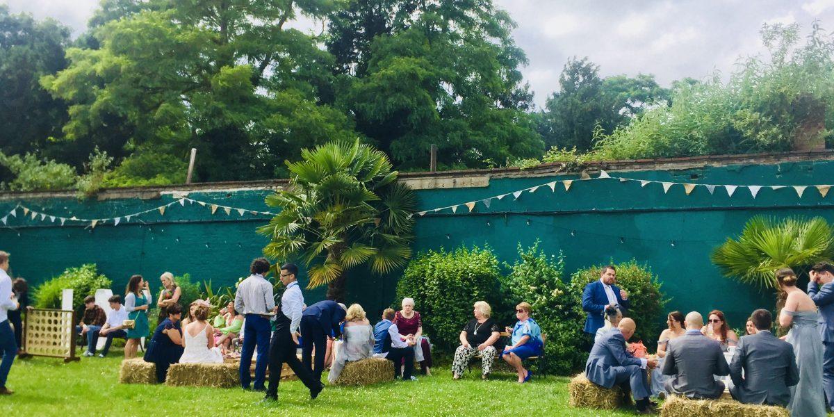 Boston Manor Walled Garden, Boston Manor Wall Garden, Rustic Wedding, Big Games, Hay Bales, Bunting, Floral Bunting, June Wedding