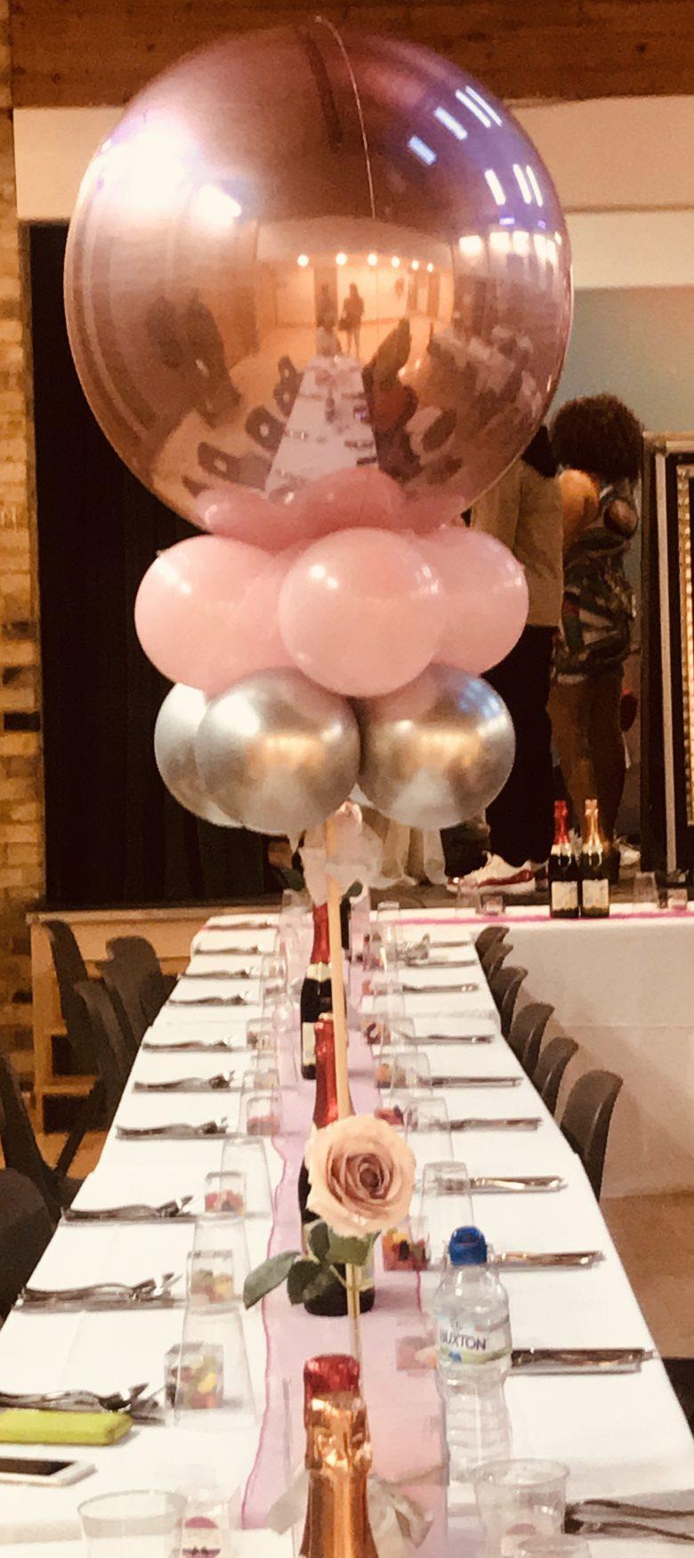 Rose Gold Balloon Centrepiece
