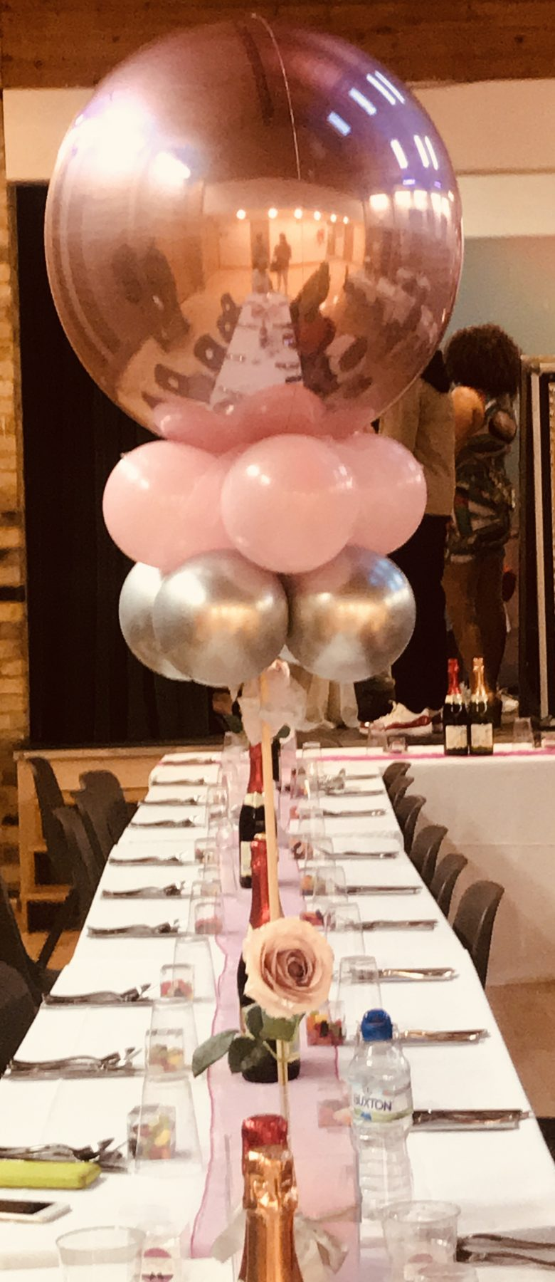 Rose Gold Balloon Centrepiece